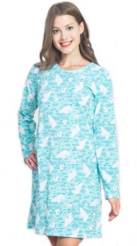 Dámská azurová noční košile Vienetta Secret Lední medvědi