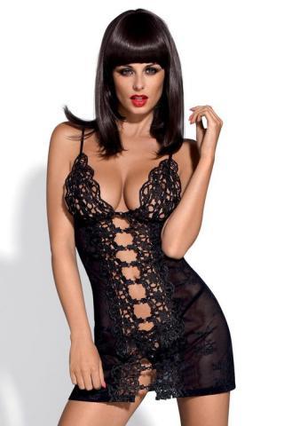 Dámská erotická košilka Obsessive Bride chemise černá