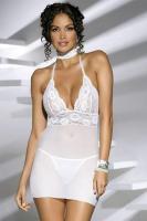 Dámská košilka Obsessive Magnolie chemise white + tanga