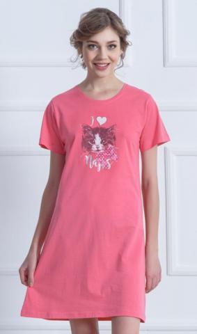 Dámská lososová noční košile Vienetta Secret Kotě s mašlí