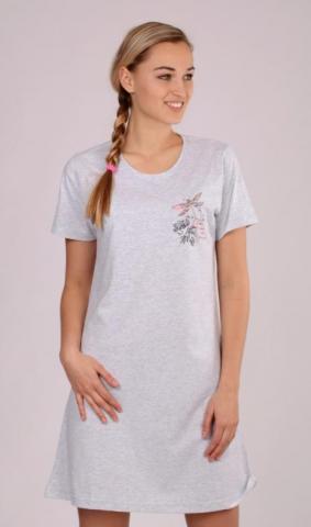 Dámská noční košile s krátkým rukávem Vienetta Secret Vážka a květy