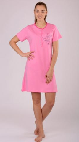 Dámská růžová noční košile Vienetta Secret Ptáci na stromě