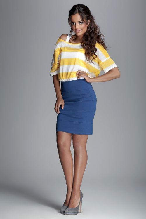 91325ccd3995 Dámská sukně FIGL M084 modrá - FIGL (Šaty