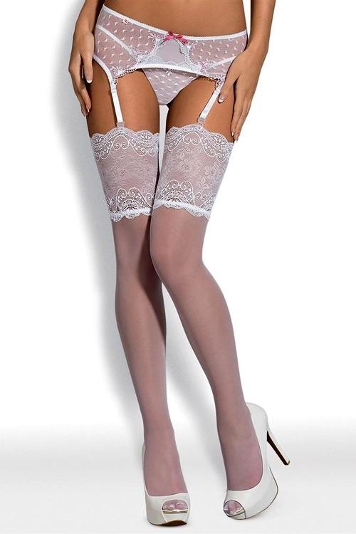 Dámské punčochy Obsessive Subtelia stocking bílé XXL - Obsessive ... c244193b2f