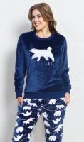 Dámské teplé pyžamo dlouhé Vienetta Secret Méďa