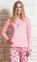 Dámské pyžamo dlouhé Vienetta Secret Tučňák na horách