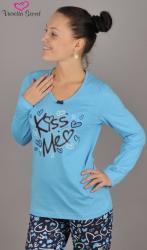 Dámské pyžamo dlouhé Vienetta Secret Kiss Me