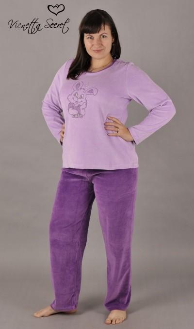 43476fba6e1 Dámské velurové pyžamo Vienetta Secret Zajíc s perličkami - Vienetta ...