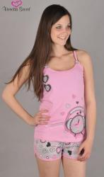 Dámské pyžamo šortky na ramínka Vienetta Secret Budík