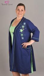 Dámský župan s noční košilí na ramínka Vienetta Secret Hvězdy