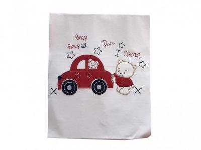 Dětská bavlněná deka Méďa s autíčkem