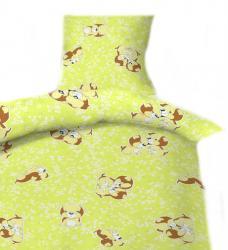 Dětské povlečení bavlna do postýlky - Štěně zelené