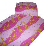 Dětské povlečení bavlna do postýlky - Žirafa růžová