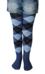 Dětské punčocháče Design Socks káro džínové