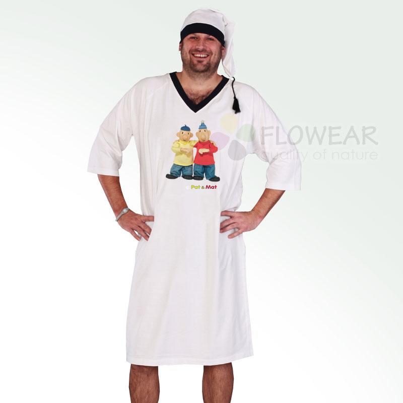 Pánská bílá noční košile Pat a Mat s čepičkou GESTO - PAT A MAT ... 15b41efae6