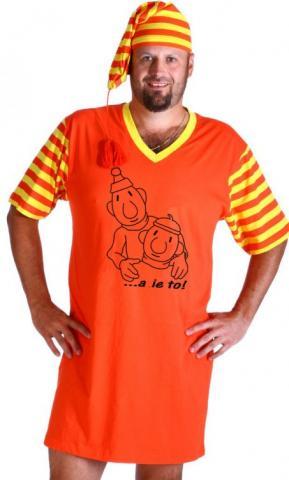 Pánská noční košile Pat a Mat s čepičkou Obrys