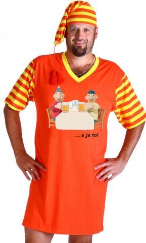 Pánská noční košile Pat a Mat s čepičkou pivaři