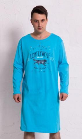 Pánská noční košile s dlouhým rukávem Vienetta Secret Vlk