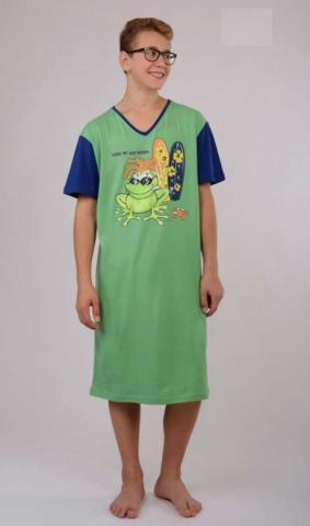 Pánská noční košile s krátkým rukávem Vienetta Secret Žába King