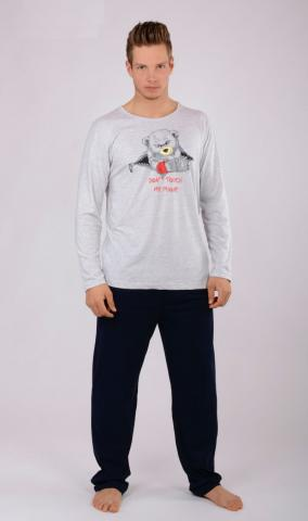 Pánské pyžamo dlouhé Vienetta Secret Méďa Rebel