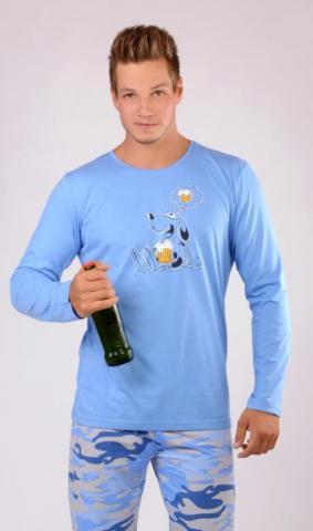 Pánské pyžamo dlouhé Vienetta Secret Pes s pivem