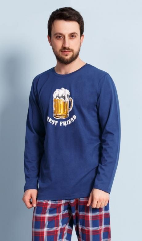 e600f9b7427b Pánské pyžamo dlouhé Vienetta Secret Velké pivo červené - Vienetta ...