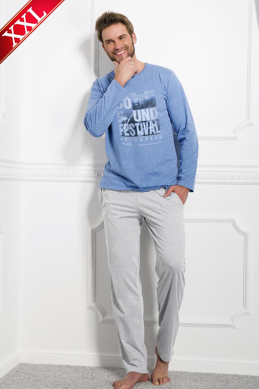 550aac2732c7 Pánské pyžamo TARO 1007 Karol blue-grey - TARO (Pánské pyžama