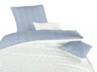 Povlečení bavlna Květinky modré/Proužky modré