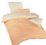 Povlečení bavlna Květinky oranžové/Proužky