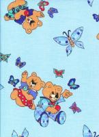 Povlečení bavlna Medvídci a motýli modří