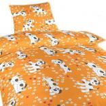 Povlečení krep do postýlky Pejsci oranžoví