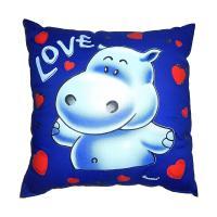 Svítící polštářek Hrošík Love modrý 28x28 cm