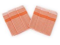 Utěrka PAR oranžovobílá  kostka - 3 ks
