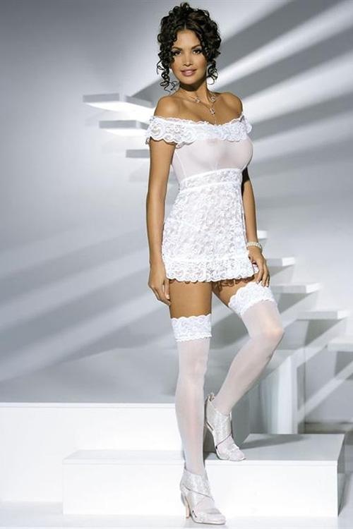 Dámská košilka Obsessive Flores chemise white + tanga