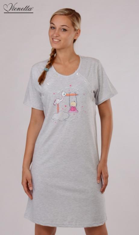 Dámská mateřská noční košile Vienetta Secret Čáp a houpačka