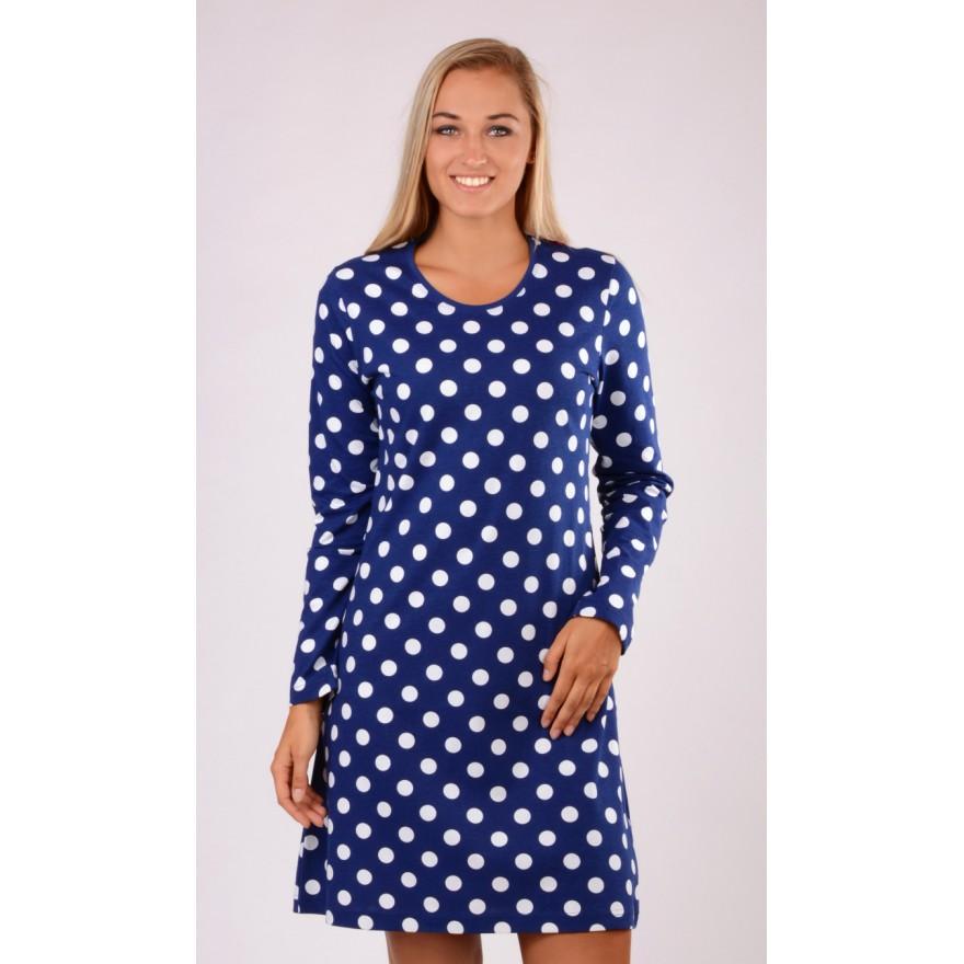 Dámská modrá noční košile Vienetta Secret Puntíky