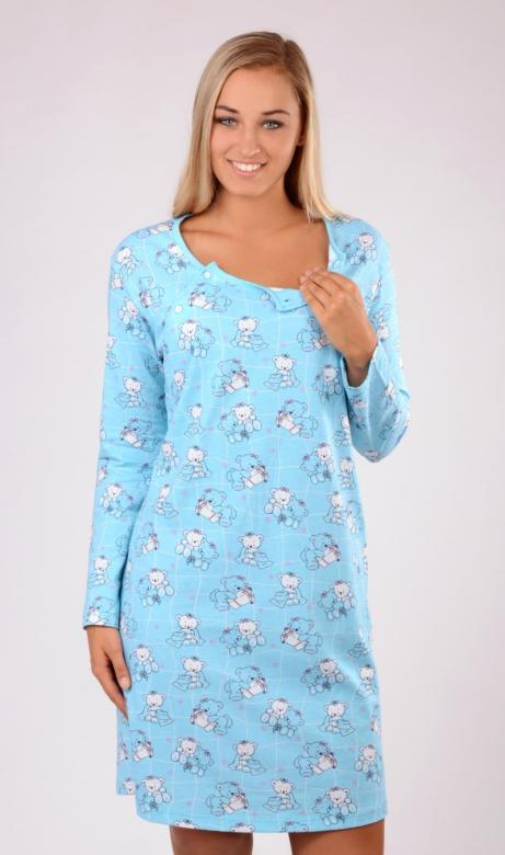 Dámská noční košile mateřská dlouhý rukáv Vienetta Secret Malí méďové
