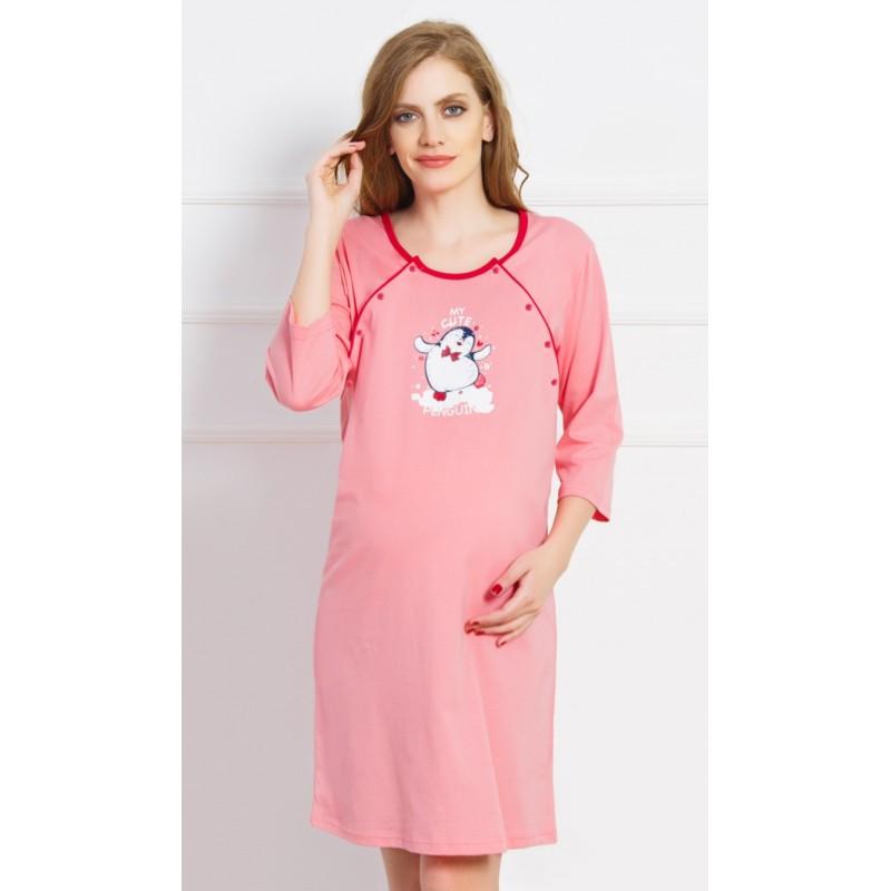 Dámská noční košile mateřská lososová Tučňák