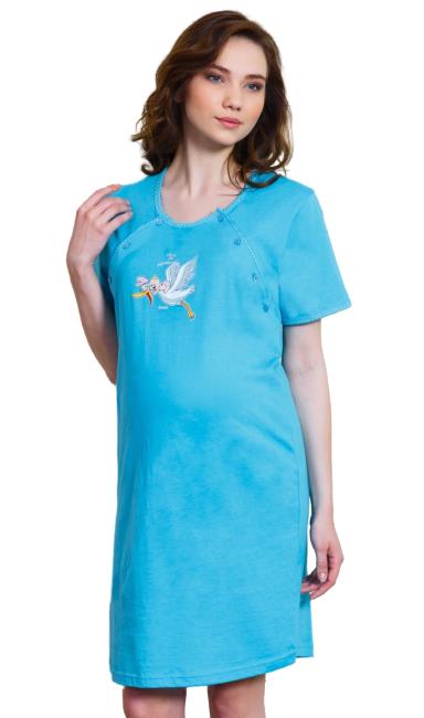 Dámská noční košile mateřská Vienetta Secret Čáp s čepicí