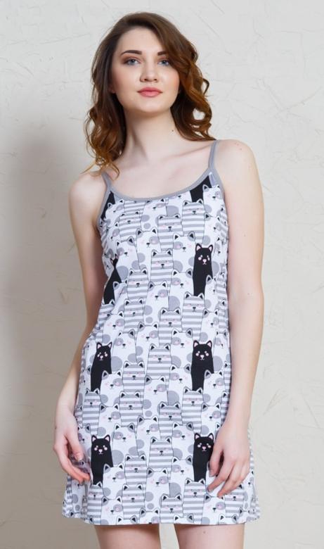 Dámská noční košile na ramínka Vienetta Secret Černá kočka