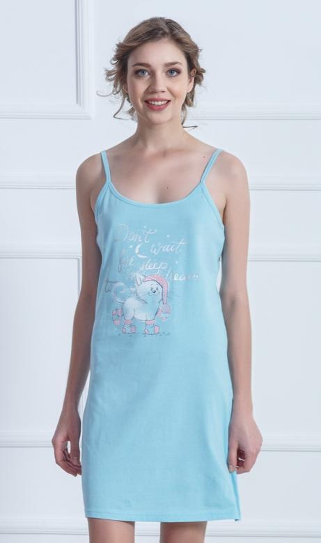 Dámská noční košile na ramínka Vienetta Secret Kotě s čepicí