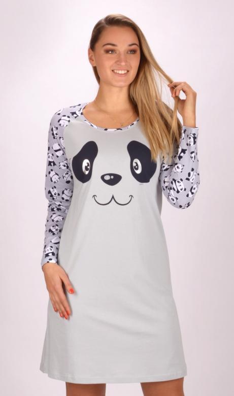 Dámská noční košile s dlouhým rukávem Vienetta Secret Panda Happy
