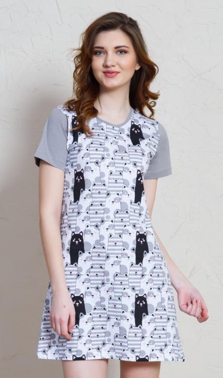 Dámská noční košile s krátkým rukávem Vienetta Secret Černá kočka