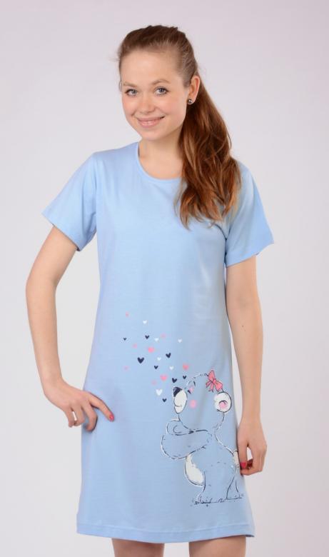 Dámská noční košile s krátkým rukávem Vienetta Secret Méďa a srdíčka