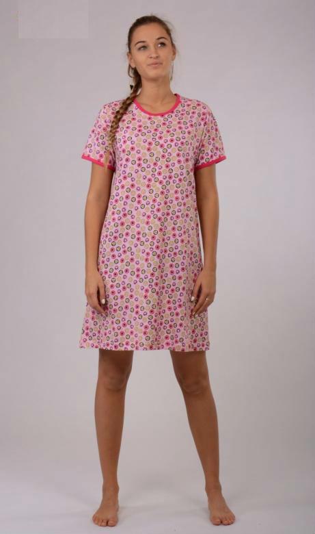 Dámská noční košile Vienetta Secret (kr.rukáv) - Srdce v kolečku