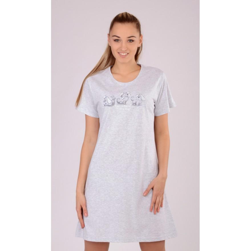Dámská noční košile Vienetta Secret Štěňata šedé