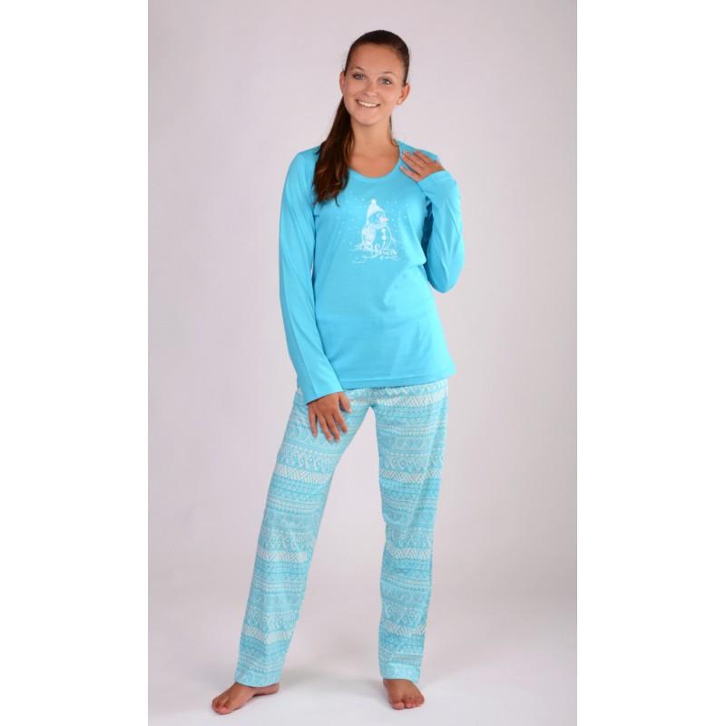 Dámské dlouhé pyžamo Vienetta Secret Sněhulák tyrkys