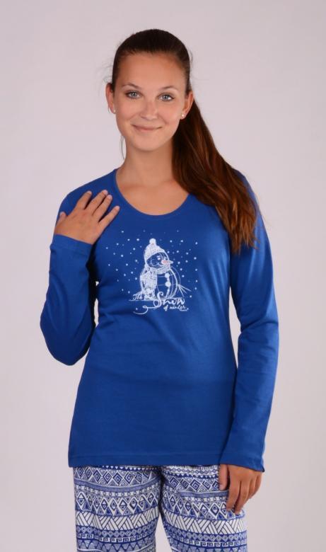Dámské dlouhé pyžamo Vienetta Secret Sněhulák