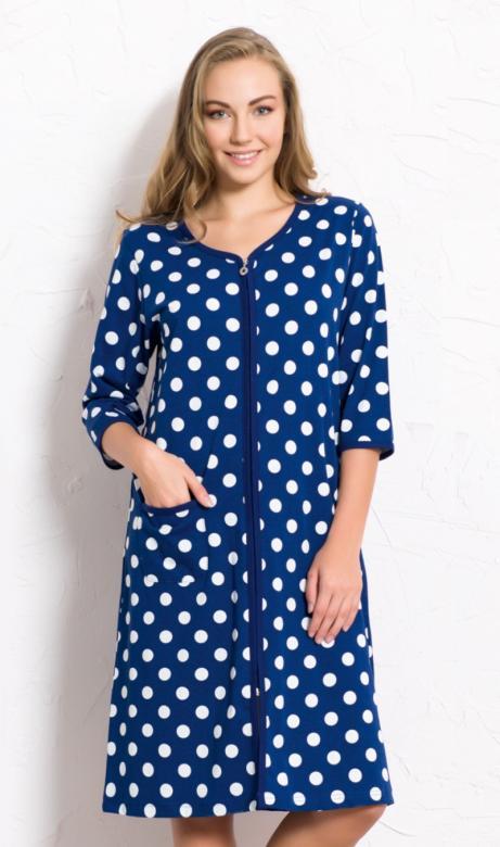 Dámské domácí šaty na zip Vienetta Secret Puntíky