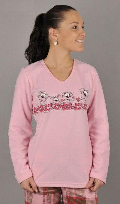 Dámské polarové pyžamo dlouhé Vienetta Secret Malá štěňata